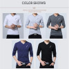 BROWON 2018 Fashion Men T-shirt Slim Fit Custom T-shirt Crease Design Long Stylish Luxury V Neck Fitness T-shirt Tee Shirt Homme Imported
