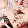 Top Brand Woman Watch Rose Gold Dress lady Leather Quartz Watch girl Watches Clock Creative Flowers relogio feminino Wrist watch