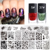 BORN PRETTY Flower Leaf Geometry Nail Stamping Plates with 6ml Stamping Polish Stamp Varnish for Nail Art Image Template Set