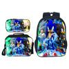 3PCS/set Cartoon Children Sonic Shadow Printing Backpack Kids School Bags Boys Girls Primary Schoolbag Students Suit Backpacks