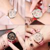 OLEVS Luxury Gold Ladies Watches Flowers Dial Leather Strap Women Quartz Wristwatch Purple/White/Pink/Red Luminous Woman's Watch
