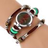 NEW Genuine Leather Watch Women Triple Bracelet Wristwatch Italian Style Green Coffe Stripes Fashion Reloj Para Dama