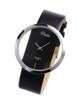 Black Leather Transparent Dial Fashion Lady Girl Wrist Quartz