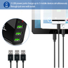 Powstro 5V 3A Mobile Phone Charger Universal 3 USB Wall Charger Travel Adapter Display Charging Voltage Current for Phone Tablet