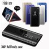 Clear Mirror Smart Case For Samsung Galaxy Note 9 8 S9 S8 S7 S6 edge Plus A8 A7 A6 A5 A3 2017 2018 A9 Star lite Flip Stand Case