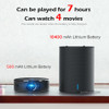 AUN Portable Projector Q8 Set in Android 5.1 WIFI. 10900mAH Battery Power Bank for LED Projector, Use as Bluetooth Speaker