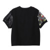 2019 European Fashion Women Summer Contrast Color Tee Top & Sequins Flowers Butterflies Patches Female Unique T-shirt Style 4813