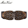 Vintage Design Elastic Belts For Women Wide Stretch Waistband Floral Buckle Retro Faux Leather Female Wide Belts Cummerbunds
