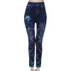 Laamei Fashion Women Leggings Floral Print Pencil Pants Leggins 2019 3XL Plus Size High Waist Hollow Out Faux Denim Leggings