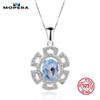 Mopera Genuine Oval Natural 1.4ct Blue Topaz Crystal 925 Sterling Silver Pendant Necklaces For Women Chain Female Fine Jewelry