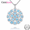 Gemlove 7.2ct Blue Topaz Wedding Necklace Flowers 925 Sterling Silver Women's Necklaces Fine Jewelry Collar with Chain Box CN053