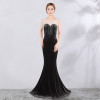 Red Mermaid Short Sleeve Evening Dress Rhinestone Formal Evening Gown Party Dresses Gowns Long Women Evening Robe De Soiree