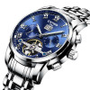 KINYUED Blue tourbillon steel watch male automatic mechanical watch multi-function calendar watches men waterproof clock Hollow