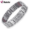 Rainso Men Jewelry Healing magnetic Bangle Balance Health Bracelet Silver Titanium Bracelets Special Desing for Male