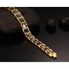 Vinterly Mens Bracelet Health Black Ceramic Bio Magnetic Germanium Bracelets Men Hand Chain Link Gold Color Stainless Jewelry