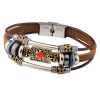 Bracelet Men Accessoires Homme 2017 Tibetan Silver Men Leather Bracelet Fashion Male Vintage Parataxis Dragon Multilayer Jewelry