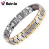 Rainso Men Jewelry Bio Energy Gold color Magnetic Health Bracelet Men Bracelets & Bangles Stainless Steel Bracelets For Women