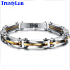 TrustyLan Jewelry Gift Never Fade Gold Color Stainless Steel Bracelet Men Cool Link Chain Mens Bracelets & Bangles 2017 Armband