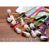 Wholesale 100 pcs Luminous Earphones Glow Metal Zipper Sport Earphone Light Glow In The Dark for Iphone Samsung Xiaomi mp3 mp4