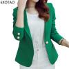 EXOTAO Women's Blazers Winter 2017 New Casacos Mujer Fashion Mini Jackets Female Long Sleeve Notched Jaqueta One Button Manteau