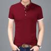 2018 Summer New Fashion Brand Clothing Tshirt Men Solid Color Slim Fit Short Sleeve T Shirt Men Mandarin Collar Casual T-Shirts
