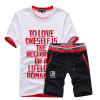 Left ROM New Summer 2018 Fine Cotton Printed High Quality Fashion Men's Casual Round Collar Short Sleeve T-shirts  Men Sets Suit
