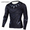 Black Panther T Shirt Men Fitness Compression Shirt Men Superman Captain America Long Sleeve 3D Marvel T shirt MMA Anime T-shirt