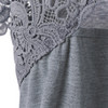 Gamiss Plus Size Cutwork Lace Up Trim Loose T-Shirt Women Casual Short Sleeve Hollow Out Summer Tees Top Female Fashion Shirts