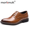 2018 New High Quality Genuine Leather Men Brogues Shoes Lace-Up Bullock Business Dress Men Oxfords Shoes Male Formal Shoes