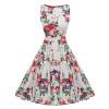 Kostlich Floral Print Summer Dress Women 2018 Sleeveless Tunic 50s Vintage Dress Belt Elegant Rockabilly Party Dresses Sundress