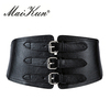 Fashion Wide Leather Belts for Women Retro Metal Pin Buckles Faux Leather Elastic Woman Belts Punk Waistband for Women Dress