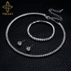TREAZY Circle Crystal Bridesmaid Bridal Jewelry Sets Silver Color Rhinestone Wedding Necklace Earrings Bracelet Sets for Women