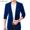 High Quality Royal Blue Velvet Blazer Men 2017 New Autumn Korean Fashion Mens Slim Single Button Blazer Jacket Wedding Blazer