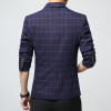 Mens plaid blazer cotton mixed casual coat slim fit Male clothing new 2018 navy blue Europe Drop shipping plus size 4xL 5xl 6xl