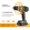 DEKO GCD20DU2Y 20Volt Max DC Lithium-Ion Battery 1/2-Inch 2-Speed Electric Cordless Drill Mini Screwdriver Wireless Power Driver