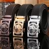 2018 famous brand new designer belts men high quality luxury fiber leather big size 140 cm 150 160 automatic buckle jaguar wolf