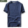 2018 New Summer Brand Shirt Men Short Sleeve Loose Thin Cotton Linen Shirt Male Fashion Solid Color Trend V-Neck Tees Hi-Q