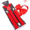 14 Color Unisex Adjustable 3 Clip 2.5CM Wide Braces Elastic Y-back Suspender And Bow Ties Set For Women Men Wedding Party
