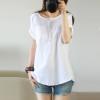 2017 Summer Cotton Linen Woman Blouse Short Sleeve Tops Female O-Neck Shirts Plus Size Blouses Large Size Camisas Femininas
