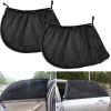 2Pcs Car Rear Side Window Sun Shade Mesh Fabric Sun Visor Shade Cover Shield UV Protector Black Auto Sunshade Curtain