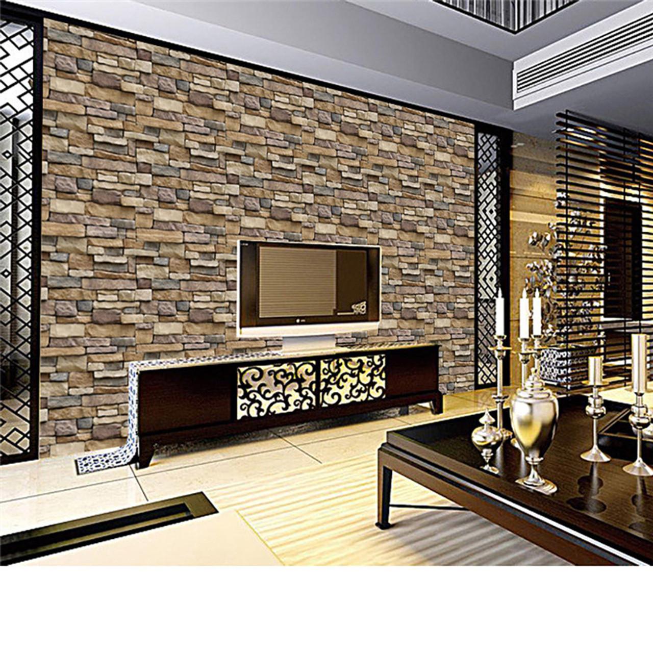 2018 3d Wall Paper Brick Stone Rustic Effect Self Adhesive Wall