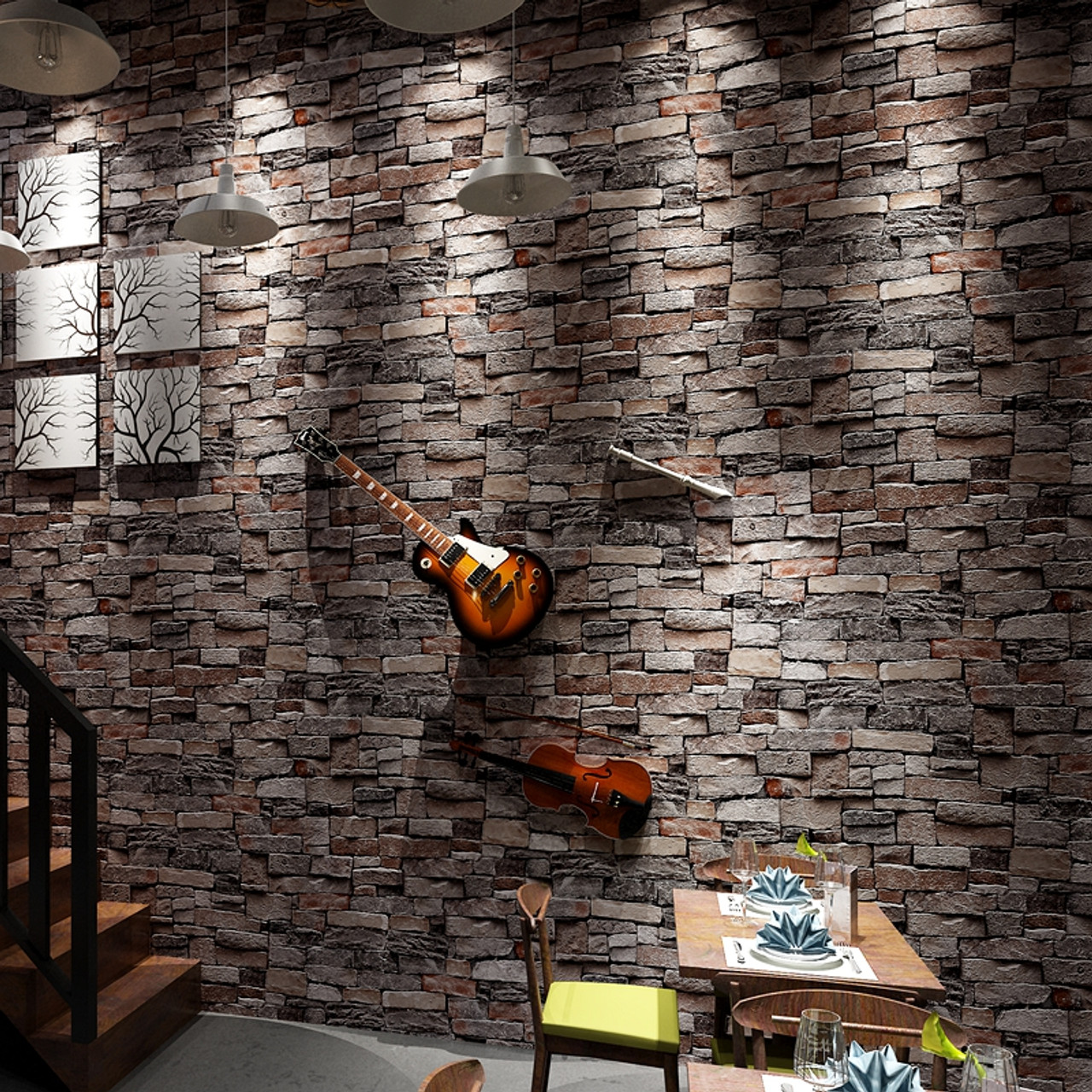 Vintage Stone Brick Wallpaper For Walls Roll 3D PVC Waterproof Wallpapers Living Room Restaurant Desktop