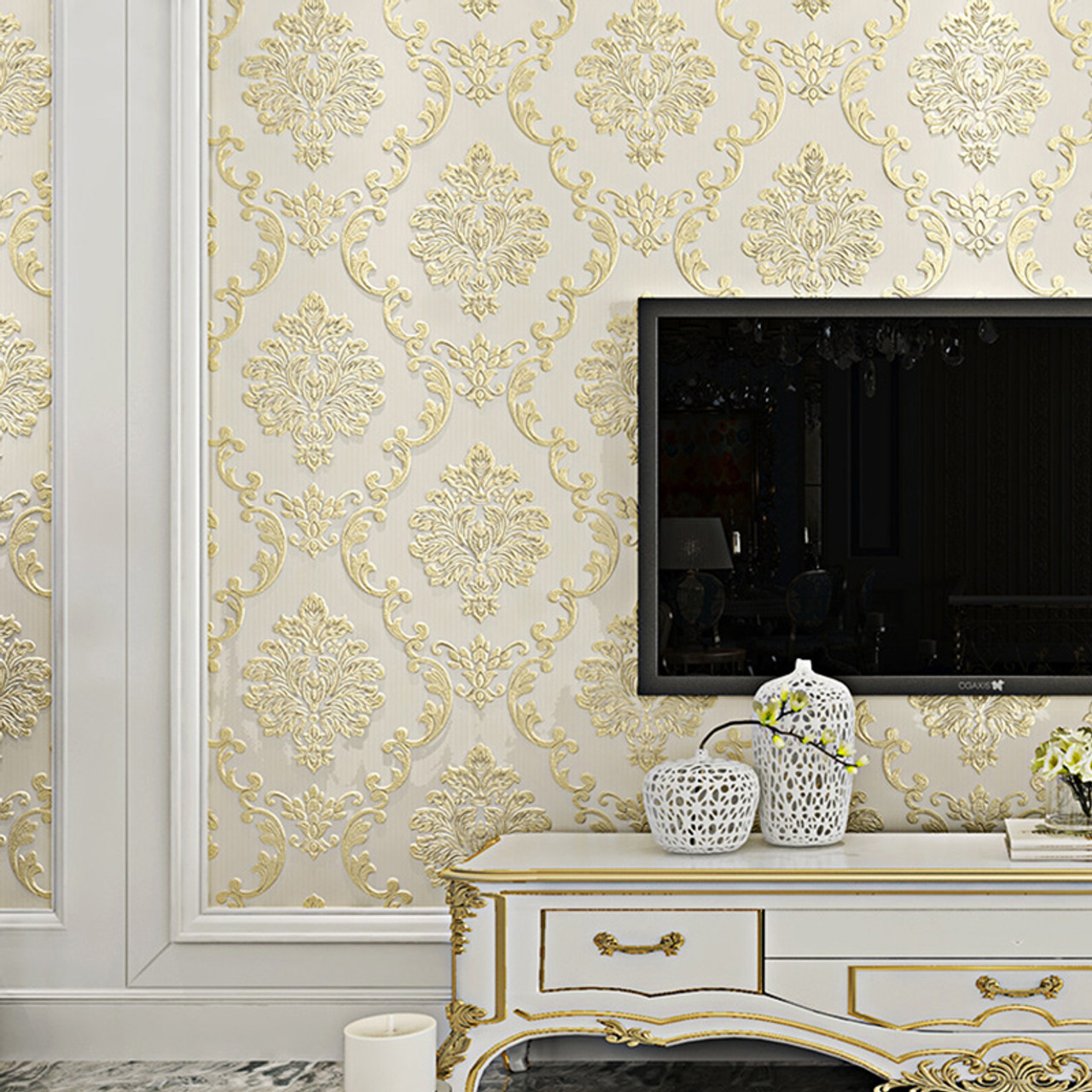 European Style Non Woven Wallpaper Luxury Damask 3d Stereoscopic