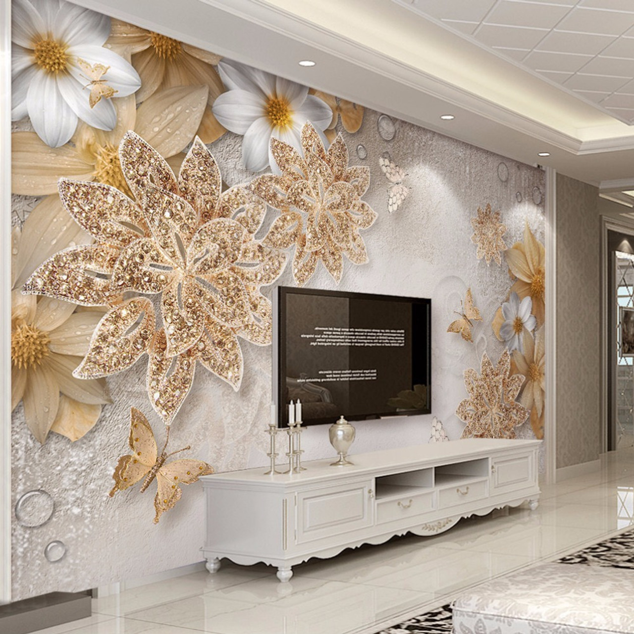 Custom Mural Wallpaper For Bedroom Walls 3d Luxury Gold Jewelry