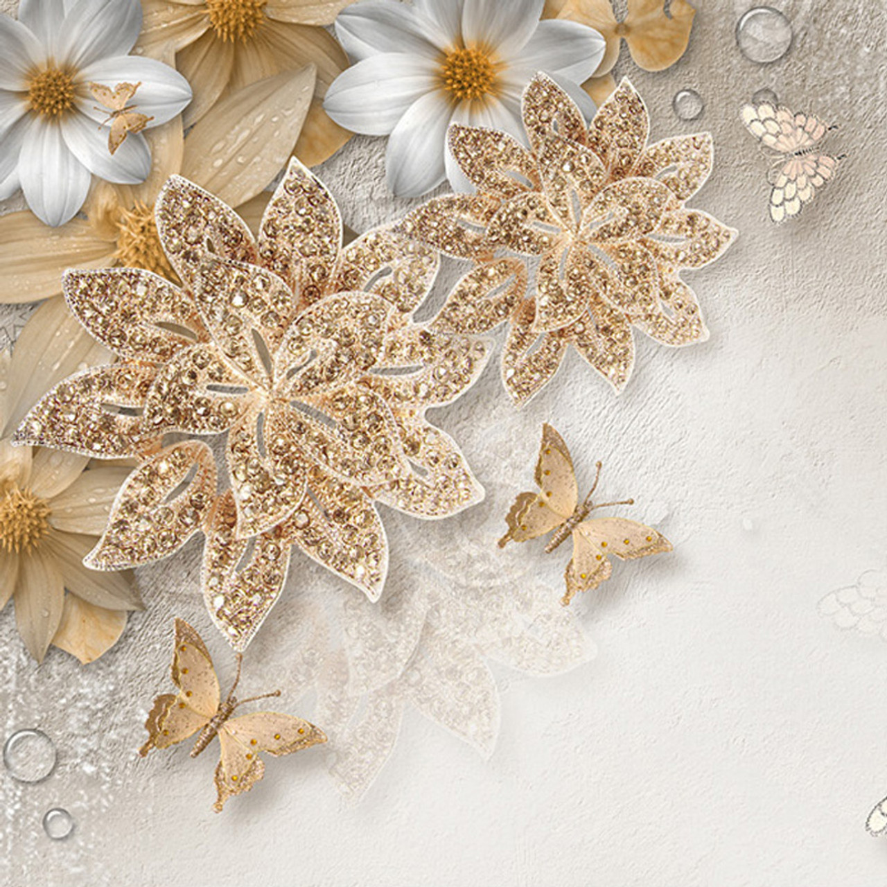 Custom Mural Wallpaper For Bedroom Walls Luxury Gold Jewelry Flower Butterfly Background Wall