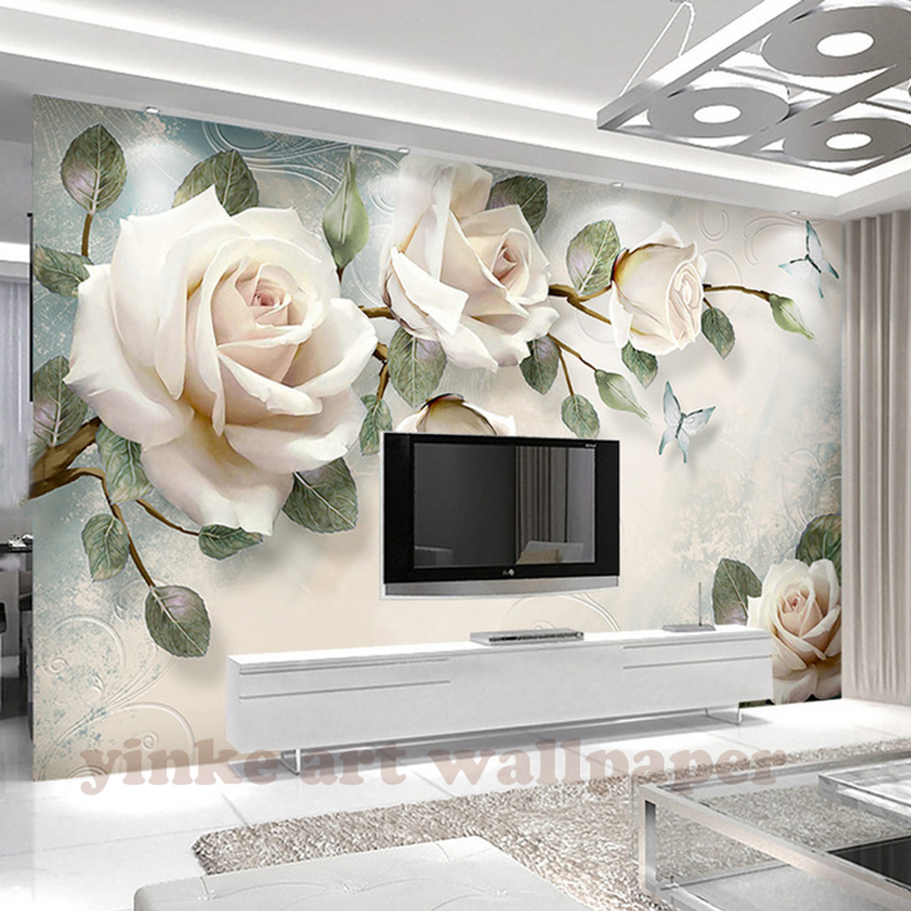 Custom Photo Wallpaper Painting 3d White Rose Flowers Wall Murals