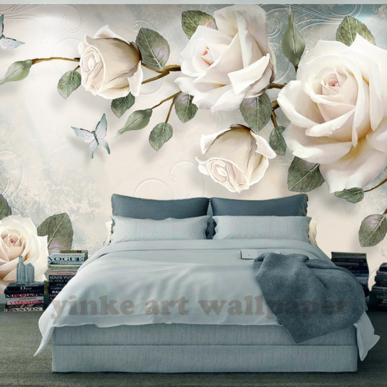 Custom Photo Wallpaper Painting 3d White Rose Flowers Wall