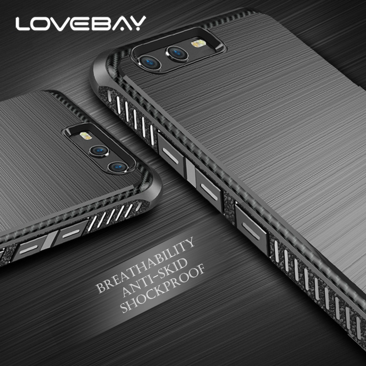 brand new 8a757 dbc83 Lovebay Luxury Carbon Fiber For Huawei P10 Plus Phone Case Laser Brushed  TPU Shockproof Phone Case For Huawei Honor 9 V9 Cover
