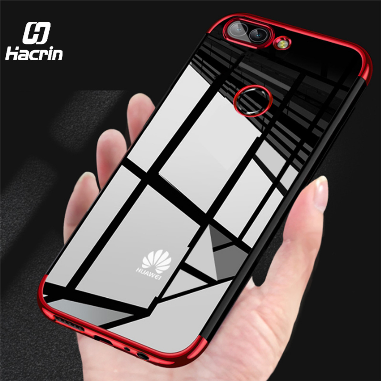 best service 4edad a0f17 for Huawei P Smart Case Transparent Plating Silicone Case For Huawei P  Smart Cover Soft TPU Protective Cover Bumper Ultra Slim