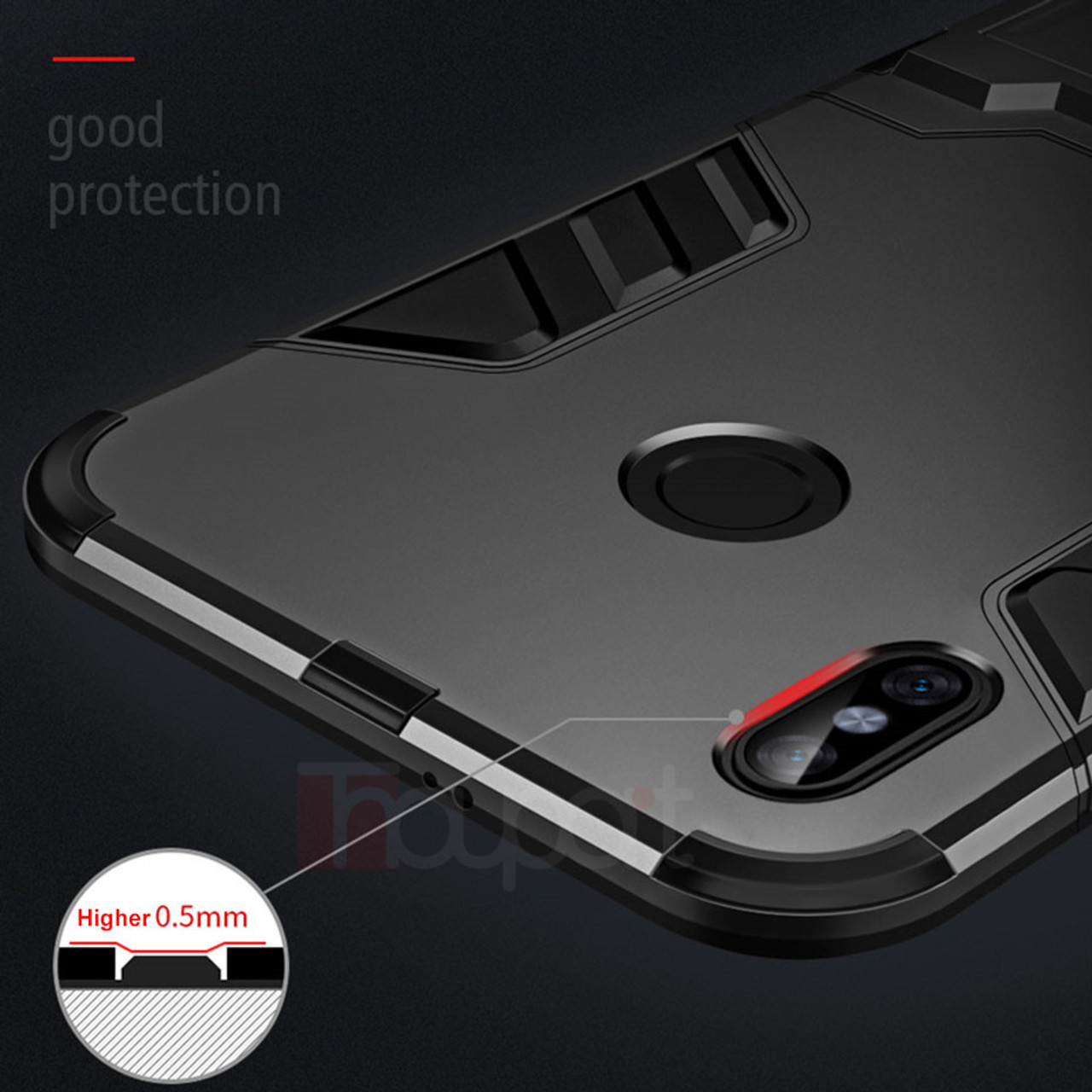 Thouport Case For Xiaomi Redmi Note 5 Pro Plus Shockproof Kickstand Armor Series Hybrid Pc Silicone Cover